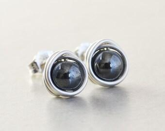 Hematite Studs, Gray Post Earrings, Sterling Silver Studs, Stone Post Earrings