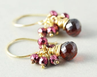 Garnet Cluster Earrings,Garnet Jewelry, Drop Earrings, January Birthstone