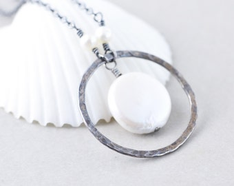 Coin Pearl Necklace, White Pearl Necklace, June Birthstone, Circle Necklace