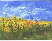 Sunflower Garden  5X7 in.  floral painting  Jim Smeltz