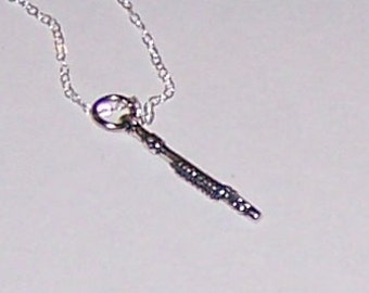 Sterling Silver 3D FLUTE Pendant and Chain - Musical Instrument, Arts, Music