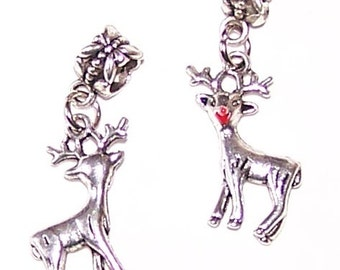 Silver 3D DEER Bead Charm for Trollbead,  European and All Name Brand Add a Bead Bracelets