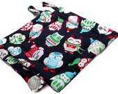 Quilted Christmas Pot Holders Set of 2 Owl Black