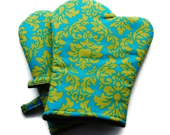 Handmade Oven Mitts set of 2 Turquoise Damask