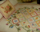 miniature doll quilt Embroidery shabby country 1:12 scale dollhouse