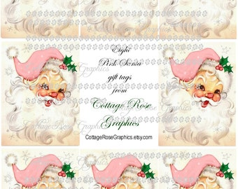 Large digital download collage Pink Retro Shabby Santa Roses ATC ACEO gift tags ECS buy 3 get one free
