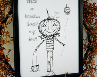 Halloween trick treat pumpkin man sign digital -  PDF print black art drawing uprint words vintage style paper old 8 x 10 frame saying