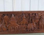 Vintage Wood Carved Panel Souvenir of Laos