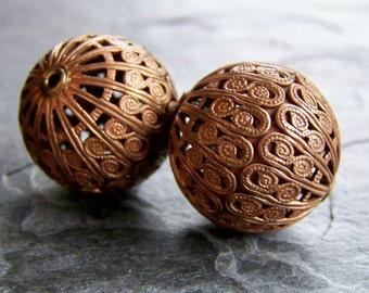 Filigree Bead, Boho Beads, Brass Bead, Patina Beads, Steampunk Bead, True Vintage, Riveted Beads, Brass Finding, Jewelry Supplies, 2 Beads