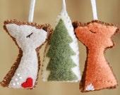 Felt Fox Deer Woodland Trio, Felt Ornaments, Home Decor, Holiday