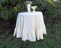 "Floor Length Ruffled Linen Tablecloth Ruffled Tablecloth Custom Handmade Wedding Decorations Table Decor French Country 90"" Tablecloth Round"