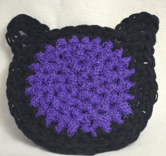 Black Cat Crochet Pot Scrubbie, Halloween Pot Scrubbers, Set of 3 Pot Scrubbies Black and Purple Cat Dish Scrubbies