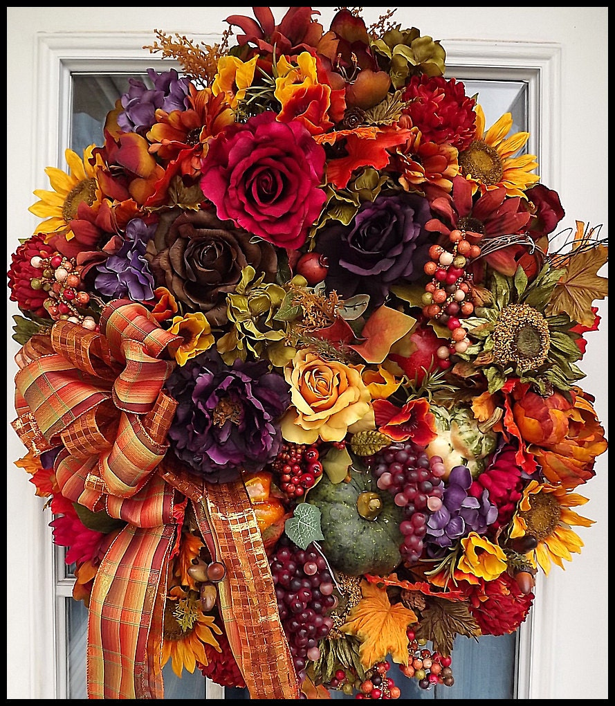 Fall wreath harvest wreath autumn door by petalpusherswreaths Fall autumn door wreaths