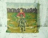 SALE  Cowboy Tapestry Pillow