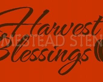 PRIMITIVE STENCIL -Item 5446 O - Harvest Blessings - Clear 5Mil Mylar - Make Your Own Sign