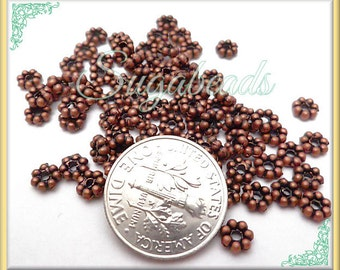 100 Antiqued Copper Daisy Spacers 4.5mm DS11