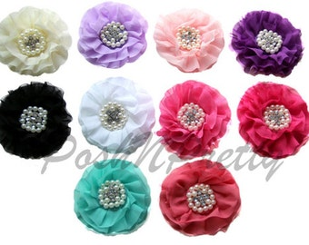 "4"" Chiffon Pearl Flower with Rhinestones-Set of 5- Choose COLORS"