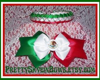 Mexican Flag Hair Bow and Braided Ribbon Headband Combo