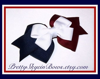 A Medium Layerer Boutique Hair Bow Clip in Navy, Burgundy, and White