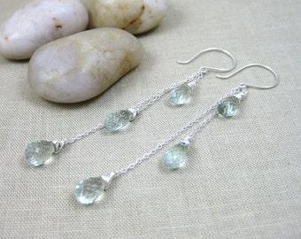 Prasiolite Long Earrings Sterling Silver Long Gemstone Earrings Green Amethyst Chain Shoulder Dusters - Sprinkling
