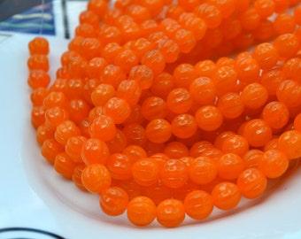 Orange Opal Melon Czech Glass Beads   25