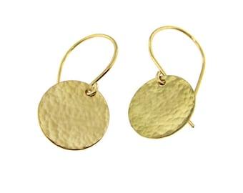 Light Catcher - Hammer Finish Small 14k Gold Filled Earrings (GE001)
