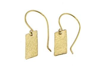 Light Catcher - Hammer Finish Tiny Rectangle 14k Gold Filled Earrings (GE002)