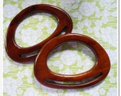 """1 pairs of wooden bag handles ( brown ) supply wood size 7"""""""