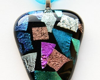 Handcrafted Dichroic Glass Pendant on Ribbon