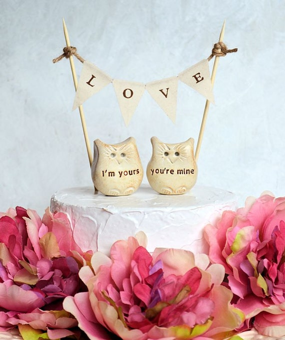 Wedding cake topper...i'm yours, you're mine Love bird owls and LOVE banner included...package deal