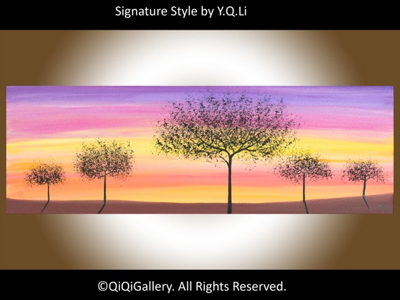 """36"""" Art Painting Abstract Painting Original Modern Painting Landscape Painting Tree Sun Wall Decor Wall Hangings Acrylic Painting """"Sunset"""""""
