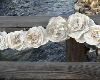 Paper Flowers Garland Vintage Book Page Roses Urban Romantic Shabby Chic Weddings Decor  6 ft  with 18 Roses
