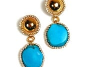 Earrings Turquoise and Gold Dangle Chandelier Drop Handmade Turquoise Statement Earrings