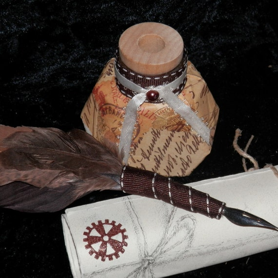 STEAMPUNK Feather QUILL and Ink POT with Your Choice of Ink Quill And Ink Pot