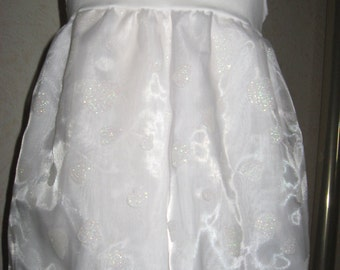 sequoia  Baby Girls White,Glittery Hearts lace,Organza Top/Dress,Rock,Party,Gift