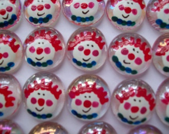 Clowns Hand painted Glass Gems Clowns Clown birthday party favors