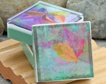 Graphic Art Soap Colorful Botanicals II - Set of 3 Guest Size Square in a Woodland Breeze Scent