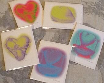 TORTURED HEARTS 5 PCS Blank Inside Greeting Card Set