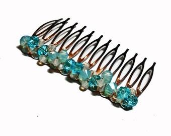 Aqua Crystal Hair Comb - Peacock Wedding Swarovski Crystal Teal/Turquoise/Aqua/Opal/Cream Bridal Hair