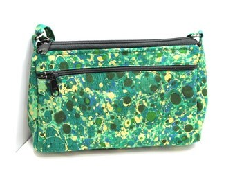 Sassy Cross Body Hipster with Adjustable Strap  Green with Gold Splotches