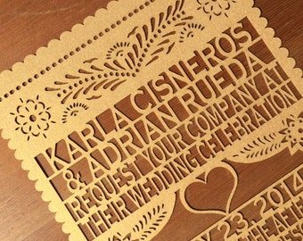 Laser cut  Invitation (1 SAMPLE) - Papel Picado Inspired Wedding 5x7 card Rehearsal Engagement Bridal Shower Couples