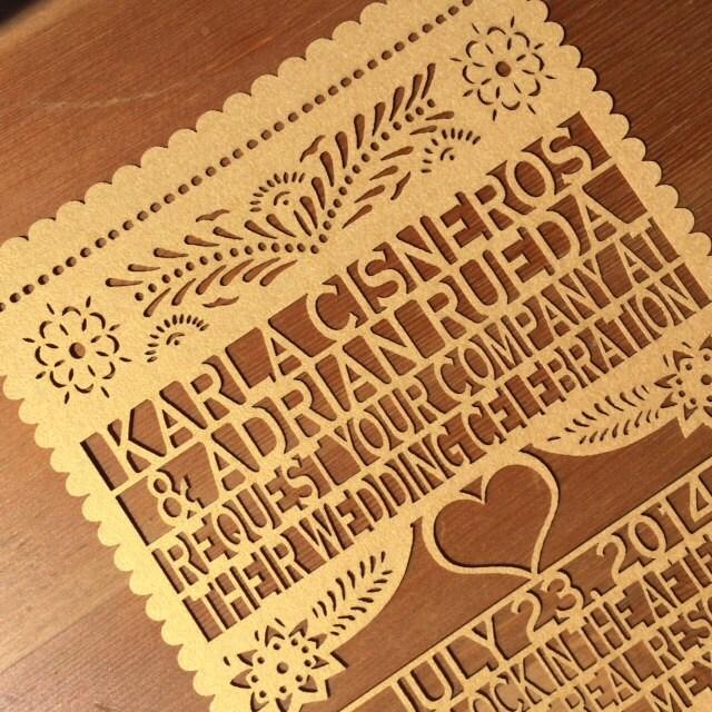Papel Picado Laser Cut Invitation Wedding Fiesta Save The Date