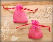 20 Pretty Raspberry Organza Bags 3x4 Sheer Fabric Favor Bags, Wedding Parties, Baby Shower, Bridal Shower, Jewelry Pouches Satin Drawstring