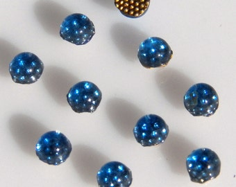 Vintage Light Sapphire Blue 5mm Round Domed Flat Back Glass Cabochons (10)