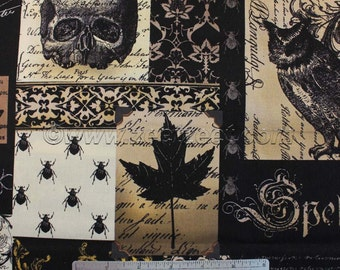 Michael Miller NEVERMORE COLLAGE Black - Cotton Quilt Fabric - by the Yard Goth Halloween