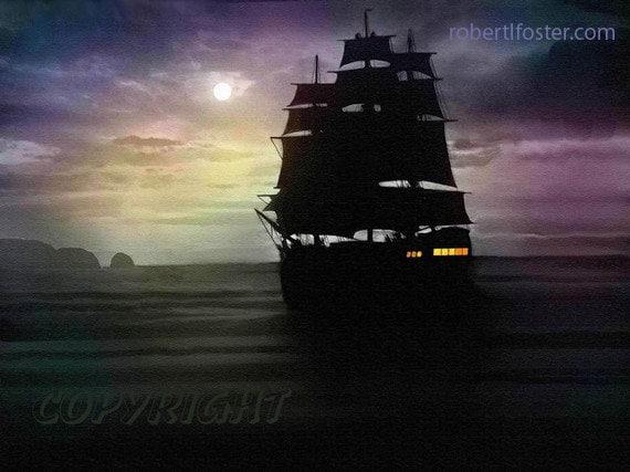 Ship art, ship painting, pirate print, tall ship, marine art, sailing, buccaneer, pirates, seascape, night sea, full sails