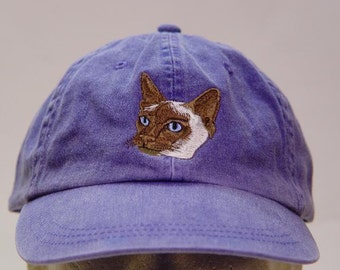 SIAMESE CAT HAT - One Embroidered Men Women Cap - Price Embroidery Apparel - 24 Color Caps Available