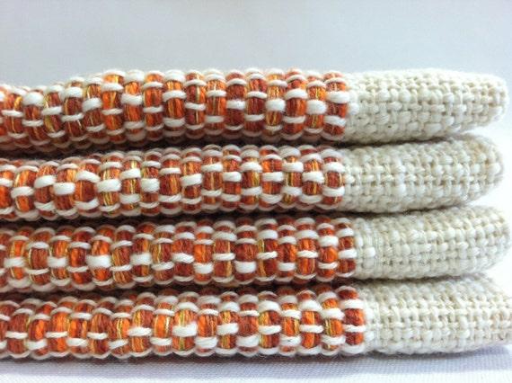 6 Orange Placemats -Set of 6 Handwoven Cotton