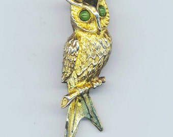 Vintage Gold over Sterling Silver Owl Pin. Vermeil Brooch. Green Gemstone Eyes. Marked Sterling - Collectible Owl by enchantedbeas on Etsy