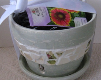 """Vintage Broken China Ceramic Shards """"Wild Rose"""" and """"Cottage Chic"""" Painted Orchid/Flower Pot/Planter"""